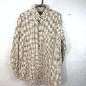 Scott Barber Button Front L/S Tan Checked SHirt